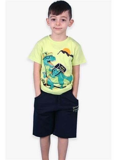 Breeze Erkek Çocuk Şortlu Takım Dinozor Baskılı Fıstık Yeşili (4-5 Yaş) Yeşil